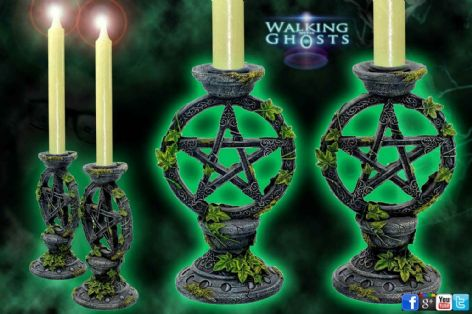 2 Pentagram Candlesticks Candle Holder Gothic Goth Altar Magick Wicca Witchcraft